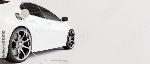 E-mobility, electric car charging battery. 3d rendering