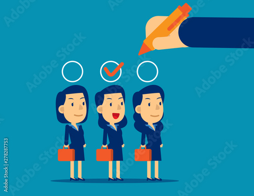 Manager hand selection employee appropriate candidate Wallpaper Mural