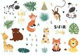 Fototapeta Fototapety na ścianę do pokoju dziecięcego - Safari object set with fox,giraffe,zebra,bear,monkey,leaves. illustration for sticker,postcard,birthday invitation.Editable element