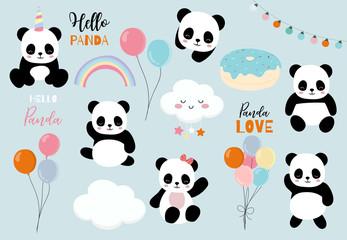 Fototapeta Panda Pastel panda set with pandacorn,rainbow,balloon,heart illustration for sticker,postcad,birthday invitation
