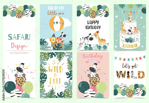 fototapeta na lodówkę Collection of safari background set with giraffe,balloon,zebra,lion.Editable vector illustration for birthday invitation,postcard and sticker.Wording include wild and free