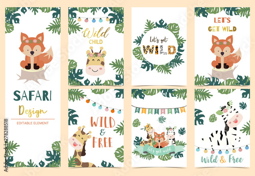 fototapeta na lodówkę Collection of safari background set with head giraffe,fox,zebra,jungle.Editable vector illustration for birthday invitation,postcard and sticker.Wording include wild and free