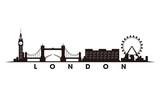 Fototapeta Londyn - London skyline and landmarks silhouette vector