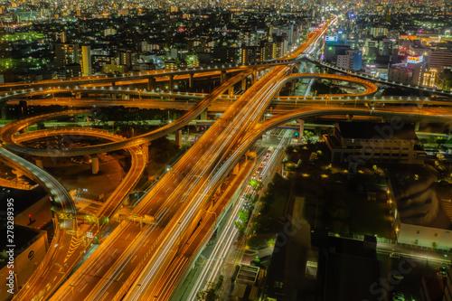 Fotobehang Nacht snelweg ジャンクションの夜景