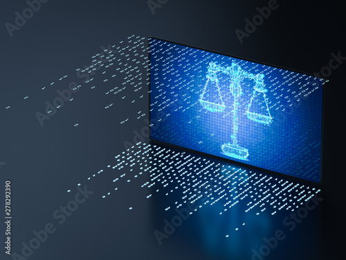 Tuinposter Londen Cyber law concept