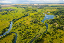 Bird's-eye View Of The Bends Of The River Meadows And Fields