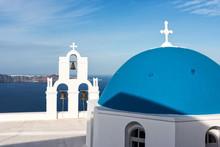 Orthodox Church With Blue Dome On Santorini