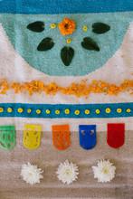 Flower Mandala On Rugs On The Floor, Very Colorful