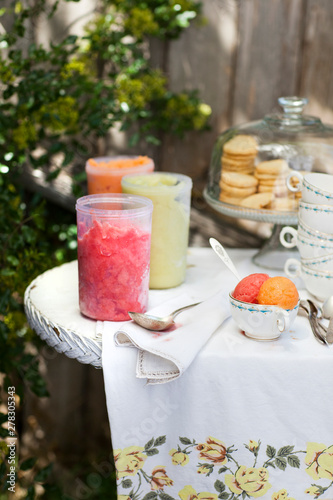 Sorbet On Party Table Outdoors