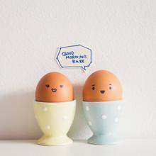 "Eggs Couple Saying """"GOOD MORNING BABE"""""