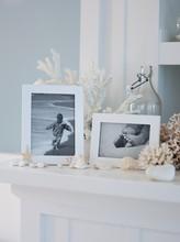 Family Photos And Coastal Objects On Ledge