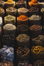 Vertical Image Of Spices In The Spice Market. Dubai, UAE.
