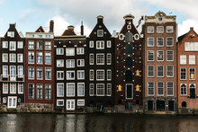 Facades Of Typical  Canal Houses In Amsterdam