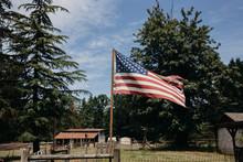 American Flag Flying Over Farm