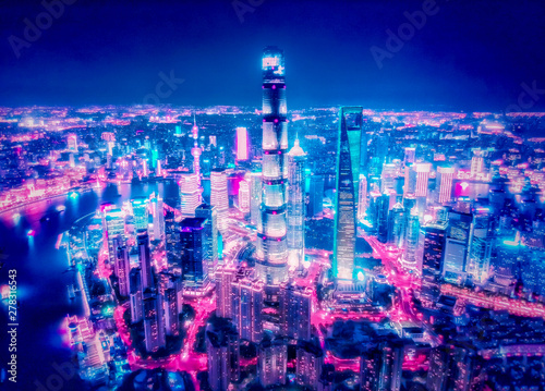 Foto auf Gartenposter Shanghai Shanghai Lujiazui night view