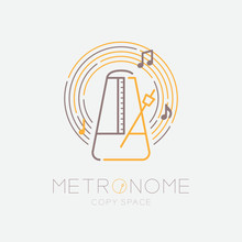 Metronome, Music Note With Lin...