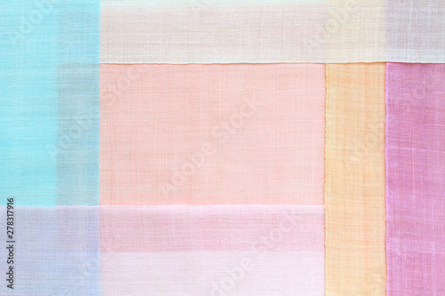 Photo  Traditional patchwork background of ramie fabric. Pastel tone.