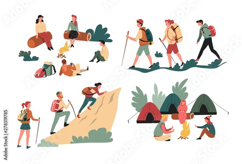 Fototapeta Hiking friends backpacking and camping mountains and forest isolated characters obraz