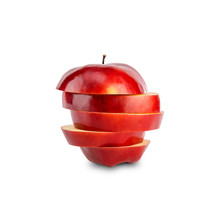 Stack Of Red Apple Sliced Isolated On White Background With Clipping Path