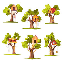 House On Tree Childish Playground Or Backyard Ladder And Swing