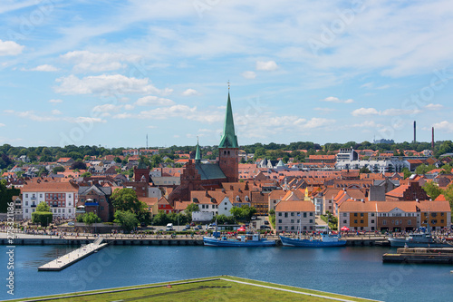 Photo  View of the city by Oresund Strait, panorama from Kronborg castle tower, Helsing