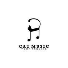 Cat Music Note Art Symbol Logo...