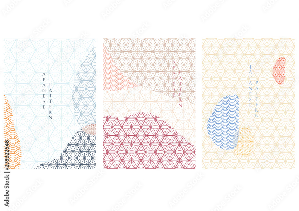 Fototapeta Japanese pattern vector with geometric background. Landscape template with graphic element.