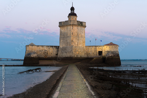 Fortification Fort Louvois at low tide, Charente-Maritime, France
