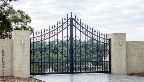 Fotomural Black metal wrought iron driveway property entrance gates set in concrete brick