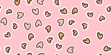 Repeated Hand Drawn Hearts. Cu...