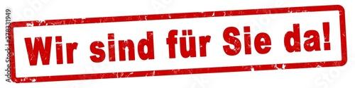 nlsb768 NewLongStampBanner nlsb - german text - Wir sind für Sie da! - Stempel / Wallpaper Mural