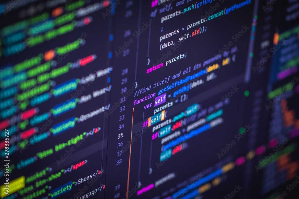 Fototapeta Developer screen with colored website programming code
