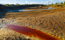 River With Polluted Red Toxic ...