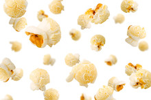 Falling Popcorn, Isolated On White Background, Selective Focus