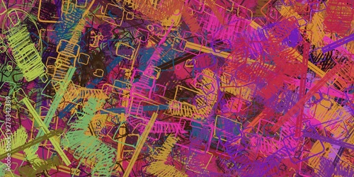 Foto op Canvas Graffiti collage Modern art. Artistic brush. Oil painting. 2d illustration. Texture backdrop. Creative chaos structure element.