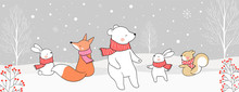 Draw Cute Animal In Snow  For Christmas Day And New Year.