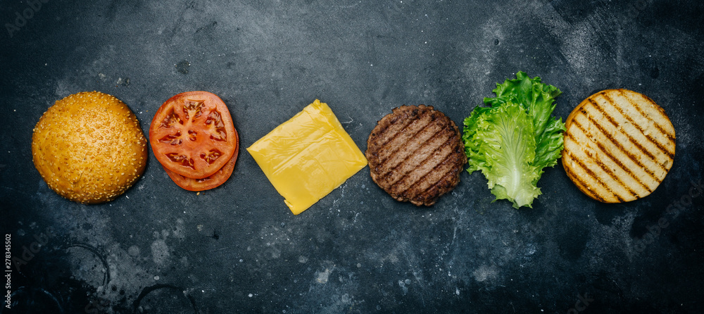Fototapety, obrazy: Home made Burger composition (recipe). Products for the classic burger on a dark background. Copy spaсe