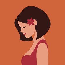 In Profile Beautiful Smiling Young Woman With Flower In Her Hair . Vector Illustration In Terracotta Colors