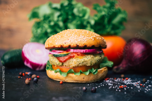 Vegetarian burger (home made burger) with chickpea cutlet and vegetables Wallpaper Mural