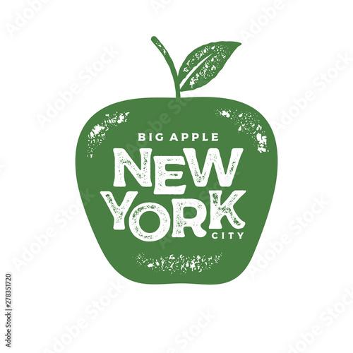 Fotomural New York big apple print green Vector illustration