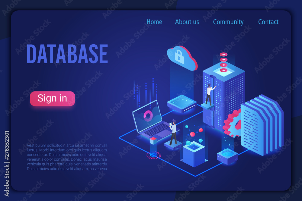 Fototapeta Database landing page dark neon light isometric vector template. Internet of things, data server storage 3d web banner. Telecommunication, cloud computing service website homepage.