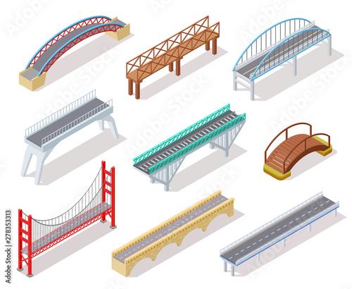 Isometric bridge. Concrete bridges drawbridge river arch bridging city road infographics isolated 3d element. Road crossing isometric drawbridge, construction architecture bridge illustration