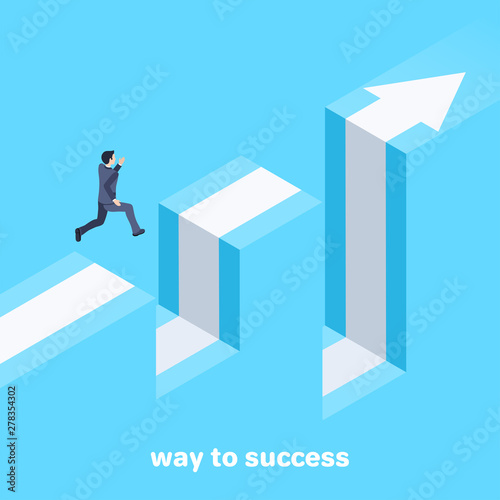 isometric vector image on a blue background, a man in a business suit jumps over Fototapet
