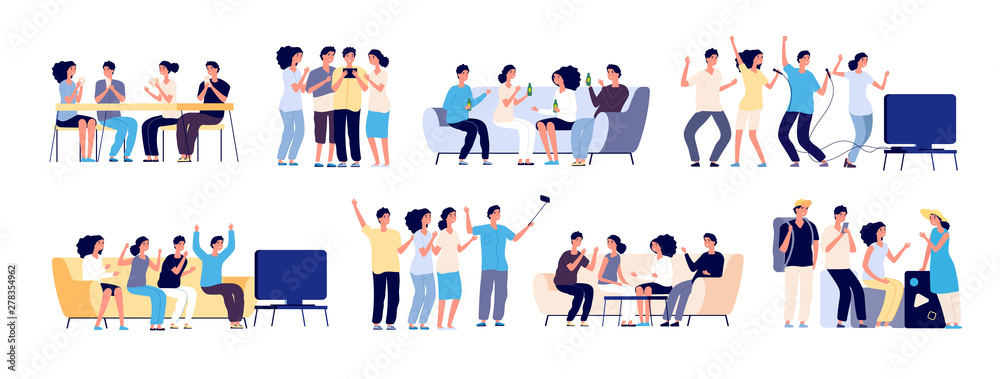 Fototapeta Friends together. Friendship between people. Smiling best friends spending time relaxing and talking. Flat vector characters isolated on white