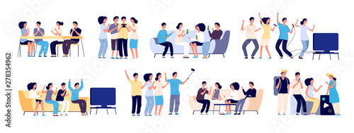 Fototapeta Friends together. Friendship between people. Smiling best friends spending time relaxing and talking. Flat vector characters isolated on white obraz