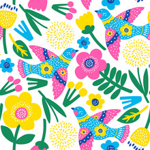 Seamless Pattern With Flowers And Birds. Vector