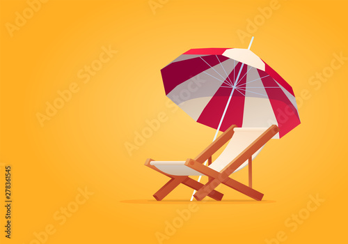Vacation and travel concept. Beach umbrella, beach chair. Fototapeta