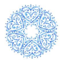 Hand Drawn Watercolor Heart Circle Ornament, Blue Round Pattern, Vintage Decorative Illustration.