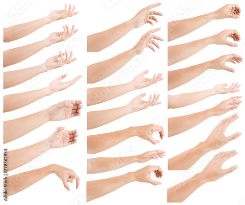 Fotomural  GROUP of Male asian hand gestures isolated over the white background