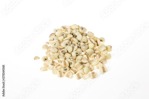 Fényképezés  Job's tears or Coix lacryma-jobi isolated on white background, raw grain for veg